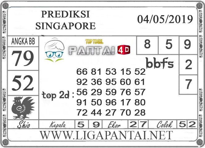 """Prediksi Togel """"SINGAPORE"""" PANTAI4D 04 MEI  2019"""
