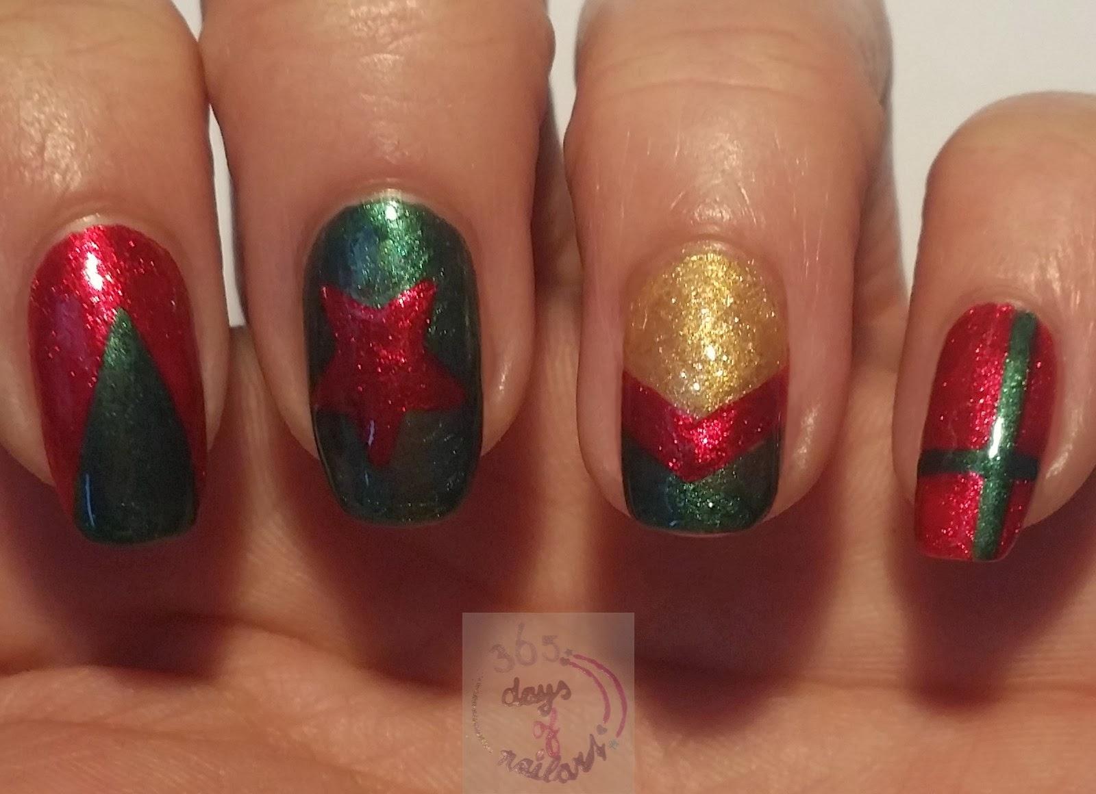 365+ days of nail art: Day 336) Easy velvet Christmas nails