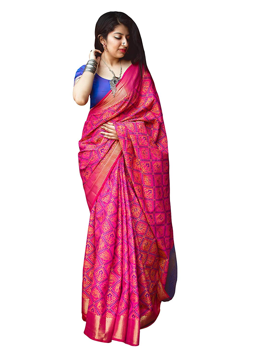 Applecreation Women'S Patola Silk Saree With Blouse Piece (6)