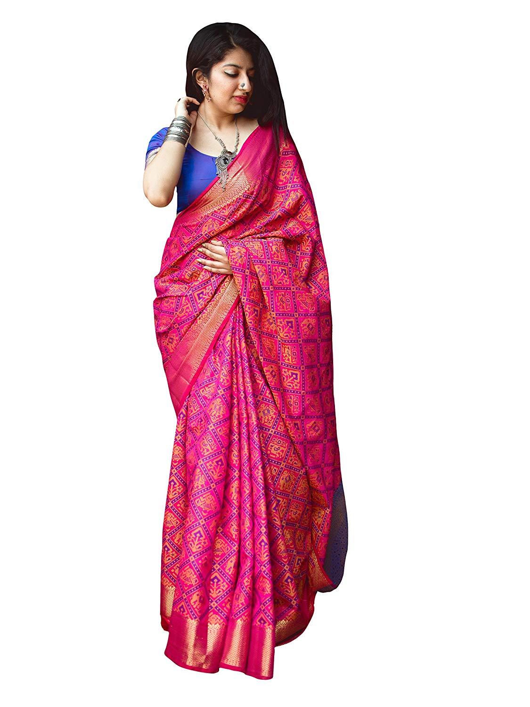 Applecreation Women'S Patola Silk Saree With Blouse Piece (6)