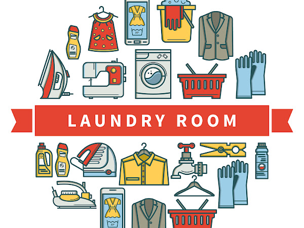 Download Laundry Room Linear Icons Free