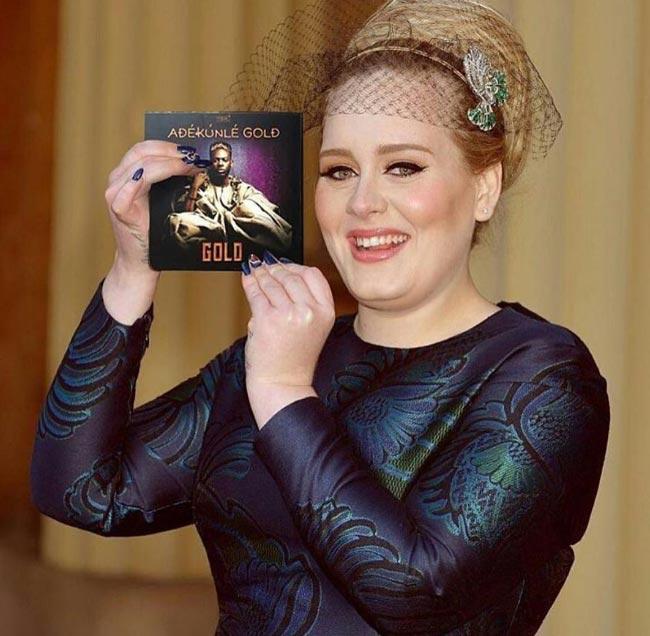 Singer Adele promotes Adekunle Gold's new album