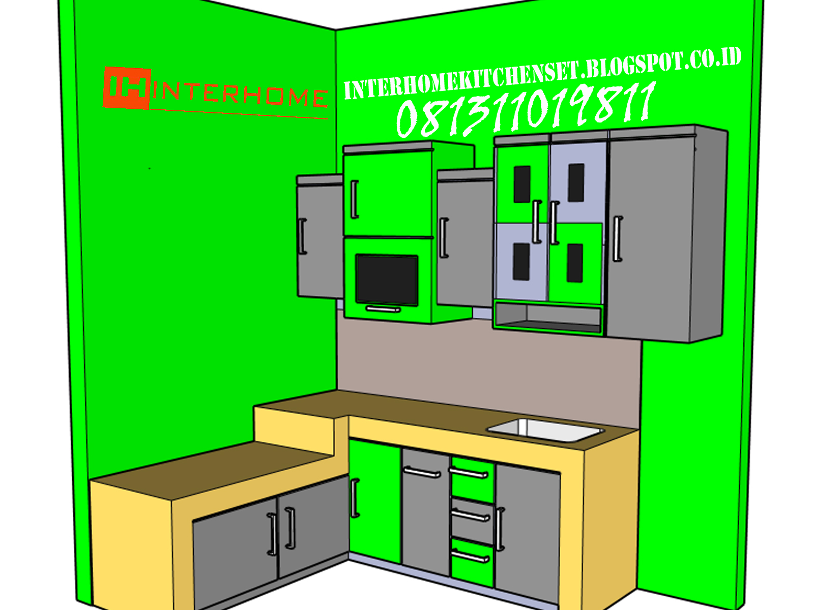 Interhome kitchen set murah gading serpong bsd for Harga kitchen set per meter