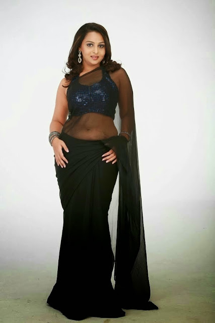 Divya Prabha black saree hot transparent navel hot stills