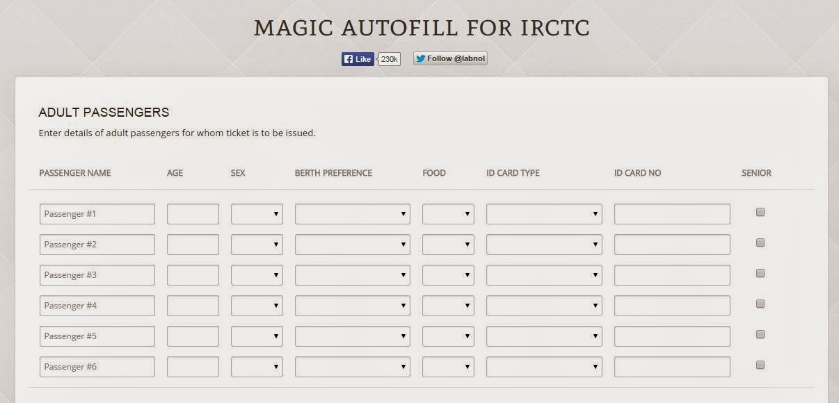 magic autofill for Irctc