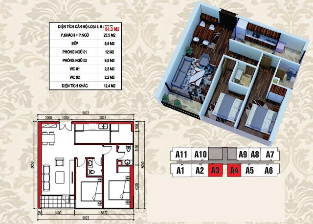 Mặt bằng điển hình căn hộ 64,3m2
