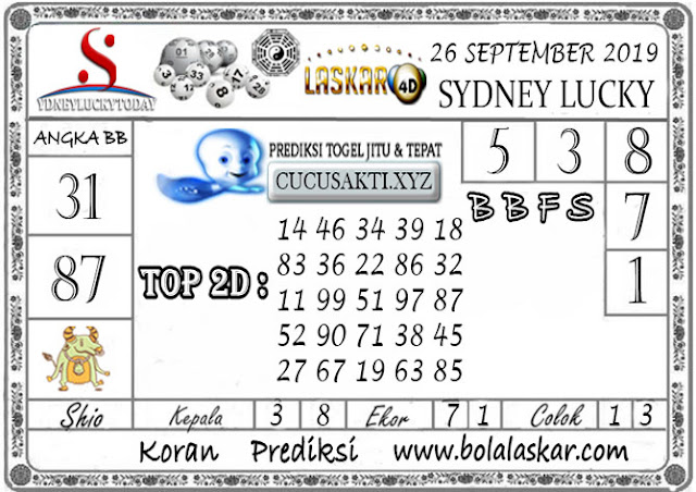 Prediksi Sydney Lucky Today LASKAR4D 26 SEPTEMBER 2019