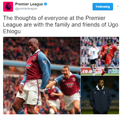 English Football clubs, Chelsea. Manchester United, others mourn the death of Ugo Ehiogu