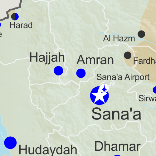 Map of territorial control in Yemen as of August 2, 2016, including territory held by the Houthi rebels and former president Saleh's forces, president-in-exile Hadi and his allies in the Saudi-led coalition and Southern Movement, Al Qaeda in the Arabian Peninsula (AQAP), and the so-called Islamic State (ISIS/ISIL). Includes recent locations of fighting, such as Taiz, Mukalla, Bayhan, Harad, and more.