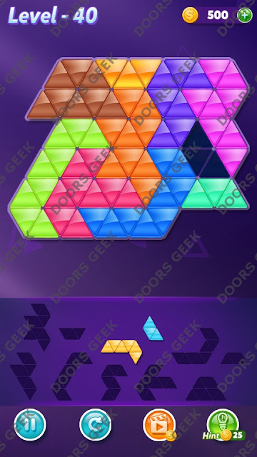Block! Triangle Puzzle 10 Mania Level 40 Solution, Cheats, Walkthrough for Android, iPhone, iPad and iPod