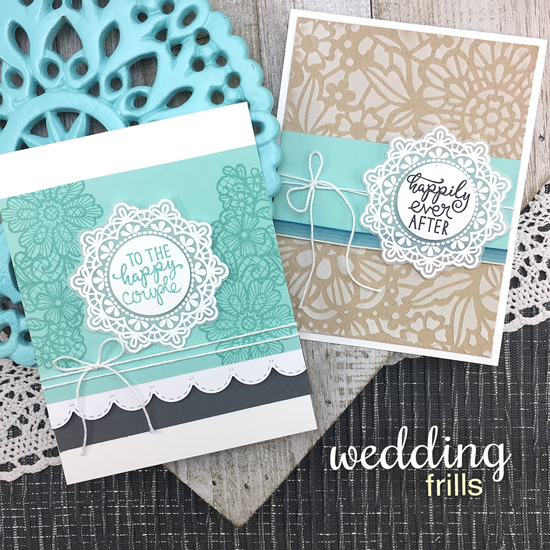 Wedding Cards by Jennifer Jackson | Wedding Frills Stamp Set & NEW Floral Lace Stencil by Newton's Nook Designs #newtonsnook #handmade