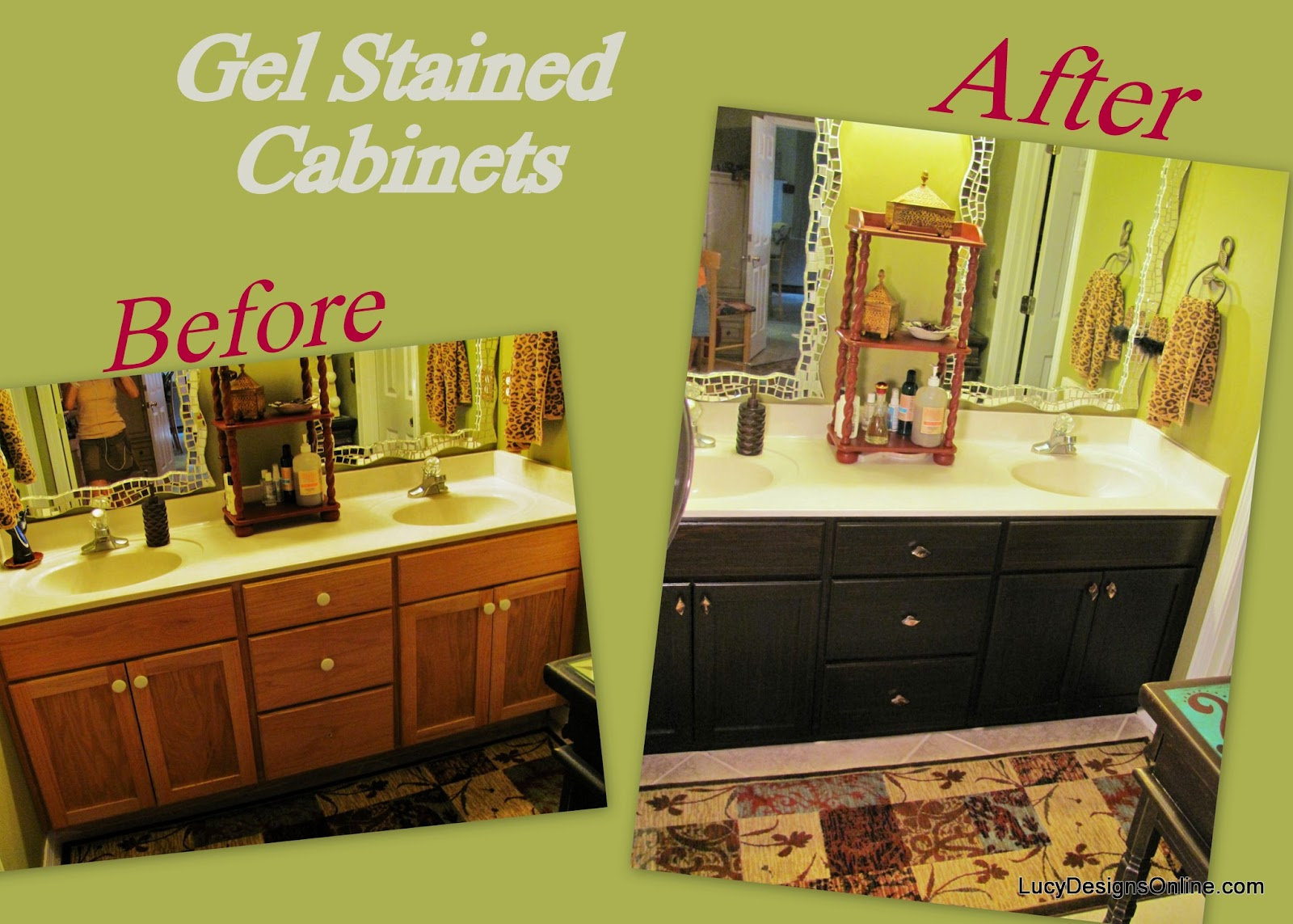 what to clean grease off kitchen cabinets aid ovens how use gel stain diy stained master bath cabinet ...