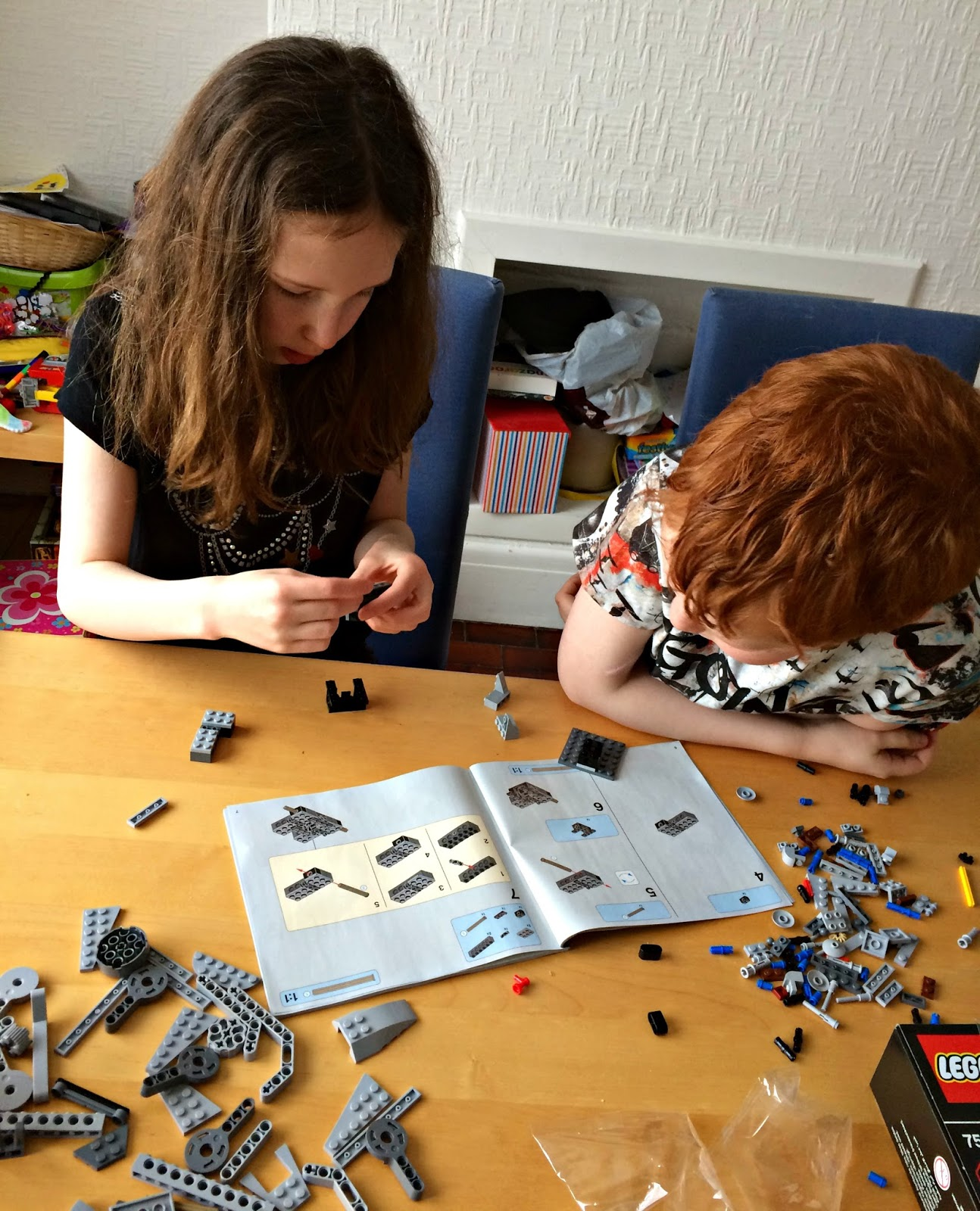 Caitlin & Ieuan building Lego