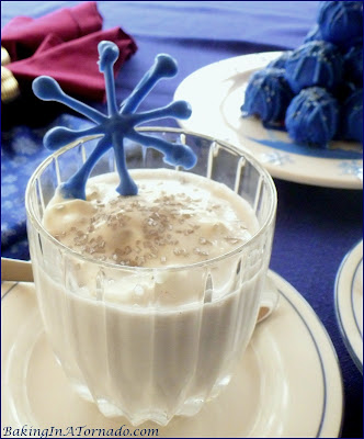 Holiday Snowflake Cocktail, a thick vanilla milkshake spiked with holiday cheer | Recipe developed by www.BakingInATornado.com | #recipe #holiday #cocktail