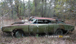 Green 1970 Dodge Charger was pulled from scrapyard and and saved from crusher.