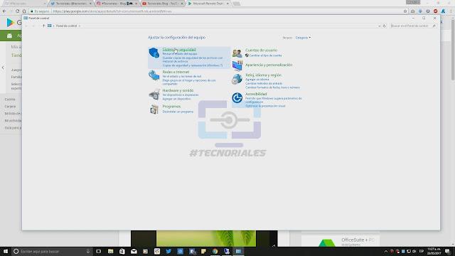 Panel de control Windows 10