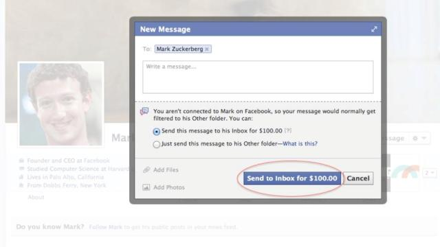 One Facebook message to Mark Zuckerberg may cost you $100