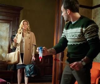Candis Cayne as Miss Hudson with Jonny Lee Miller as Sherlock Holmes in CBS Elementary Episode # 19 Snow Angels