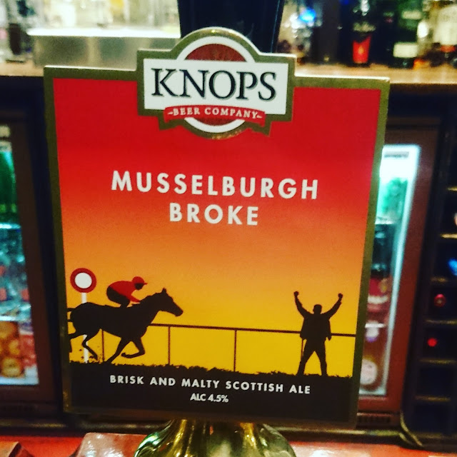 Midlothian Craft Beer Review: Musselburgh Broke from Knops Beer Company real ale pump clip