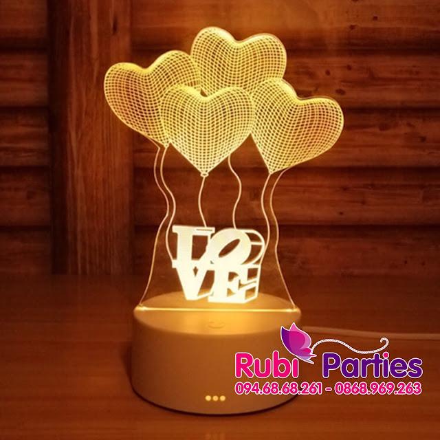 Den LED 3D Hinh bon trai tim (713)