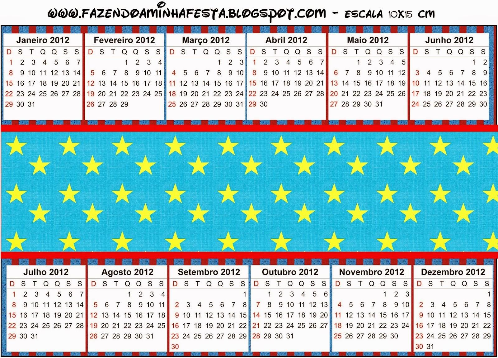Calendario 2015 para imprimir gratis de Estrellas sobre Fondo Celeste.