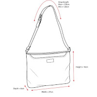 Mia Tui Megan handbag size diagram. mamiskilts.co.uk