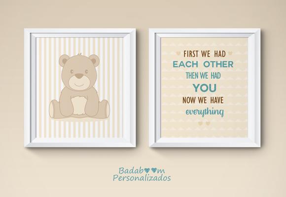 Duo de pôster digital para decoração infantil no tema urso