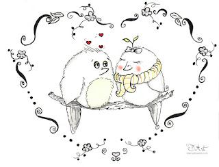 Love Birds Whimsical Ink Drawing By Tawnya Boe