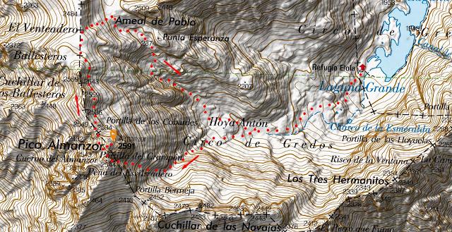 Mapa de la ruta señalizada al Pico Almanzor desde el Refugio de la Laguna Grande