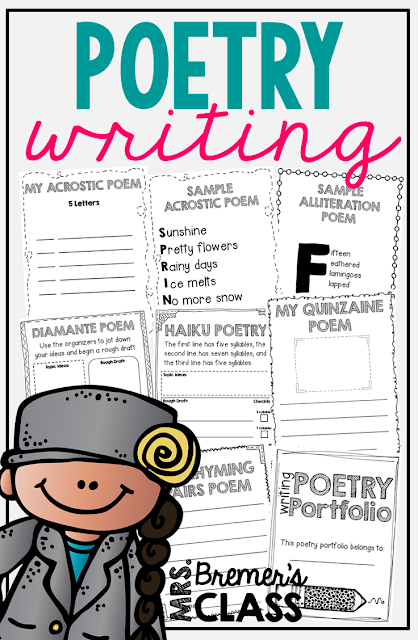 This poetry writing unit will introduce your students to 10 different types of poems. It offers writing templates, writing & illustration templates, and graphic organizers to help your students organize their thoughts along the way. Sample poems are included to further demonstrate each poem style. A portfolio cover page is included! #poetry #poetryunit #poetrywriting #1stgrade #2ndgrade #3rdgrade #writing #writingunit #1stgradewriting #2ndgradewriting #3rdgradewriting #writingcenter