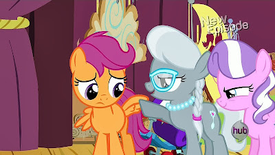 Diamond Tiara and Silver Spoon make fun of Scootaloo's wings