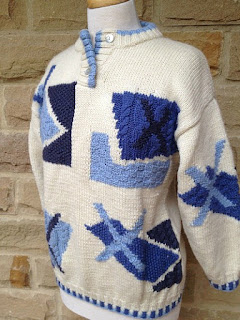 1980s hand knit chunky sweater for women