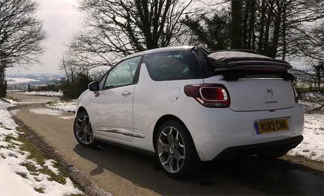 Citroen DS3 Cabrio rear view roof fully open