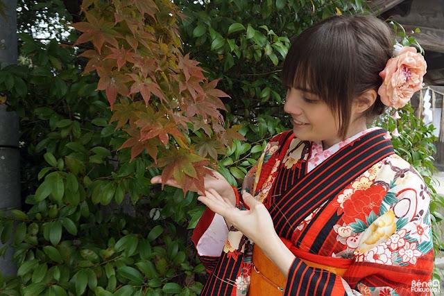 着物と紅葉、福岡、モデル