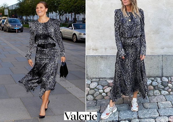 Crown Princess Victoria wore a leopard print dress by Valerie Stockholm