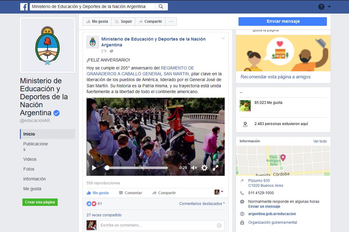 Tangograf as publicaci n en la pagina de facebook del for La pagina del ministerio