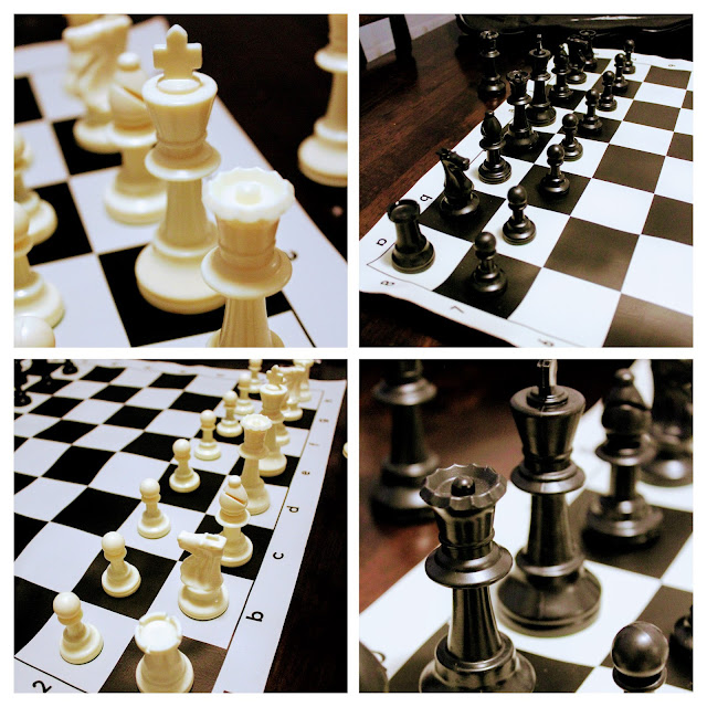 Tournament Roll-up Triple Weighted Chess Set - A four picture collage of plastic Staunton chess pieces on a vinyl chess board.