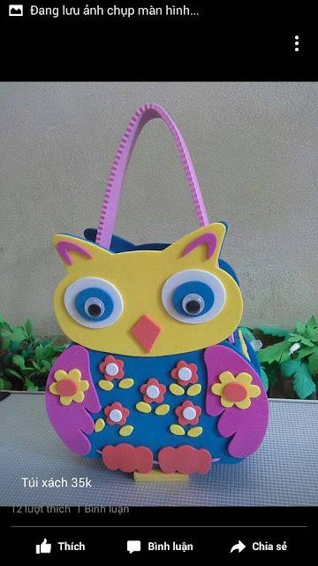 Ide membuat tas menggunakan bahan dasar foam  berbentuk burung hantu