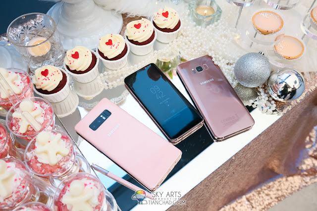 Samsung Galaxy Note8 in Soft Pink and Galaxy S8/S8+ in Rose Pink