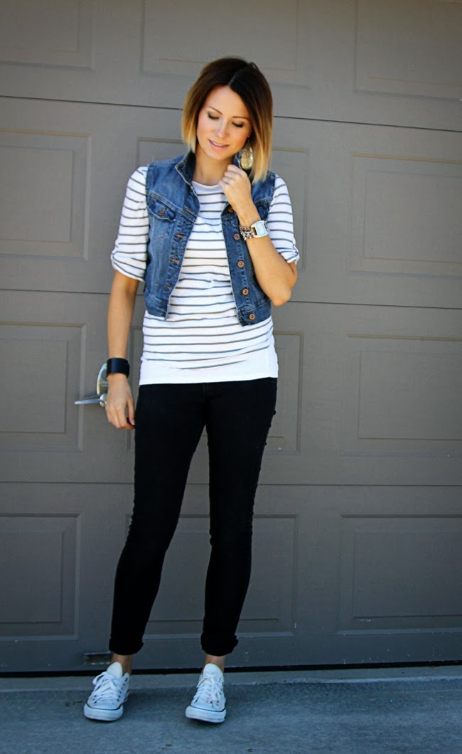 Denim vest, stripes, and black denim