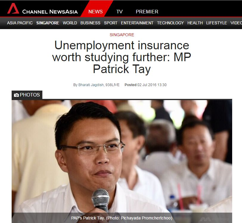 Image result for patrick tay unemployment insurance