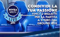Logo Nivea Men: gioca e vinci gratis 2 posti al Ground Box di S.Siro per le partite del Milan