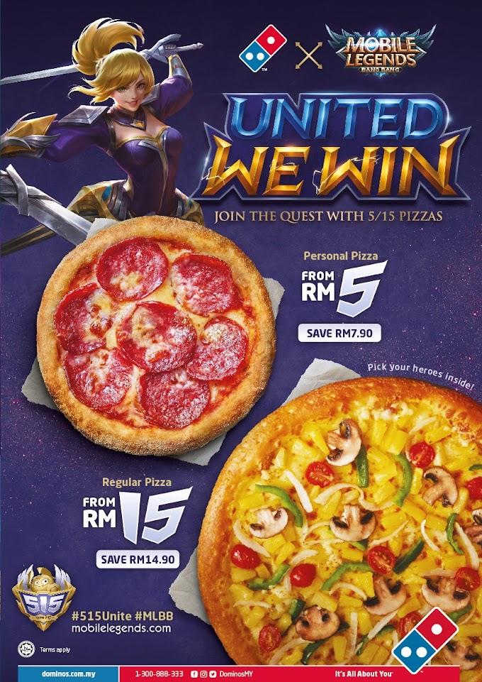 Nikmati Dominos Personal Pizza RM5 dan Regular Pizza RM15