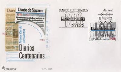 Sobre PDC del sello del 2003 dedicado al diario centenario de Diario de Navarra