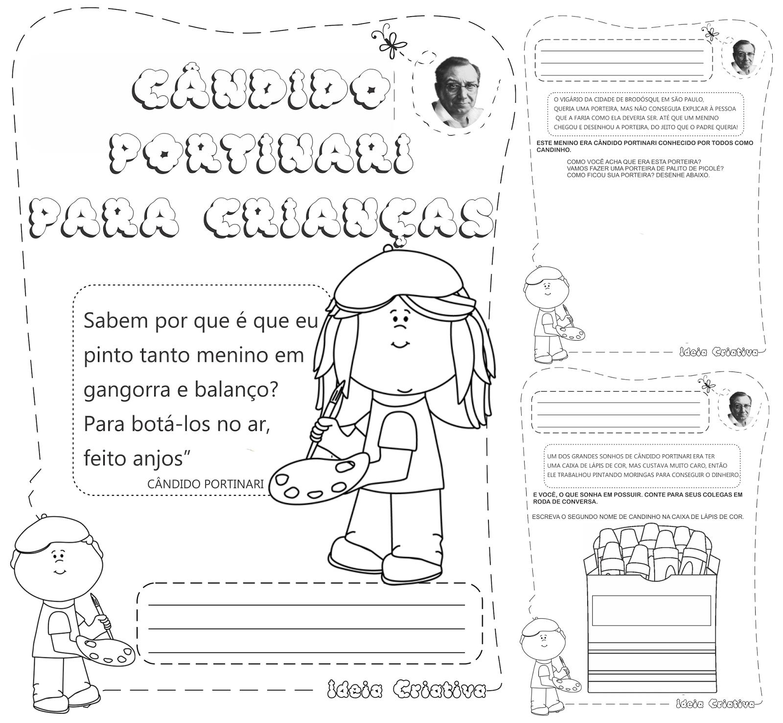 Caderno de Atividades Cândido Portinari para crianças