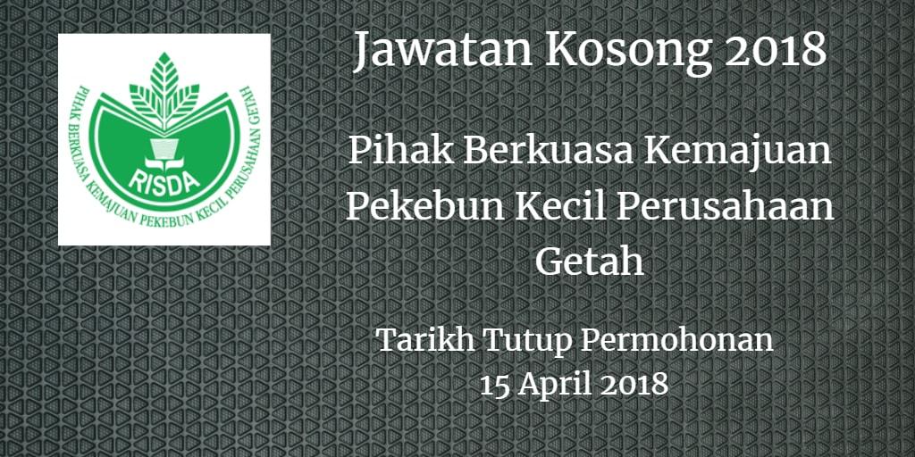Jawatan Kosong RISDA 15 April 2018