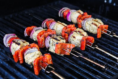 Grilled Chicken and Veggie Kabobs with Garlic and Basil found on KalynsKitchen.com