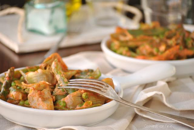 Verduras con crema de tomate lecturas cocina