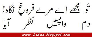 To Mujhy Ay Mery Ferogh-e-Nigah! Dam-e-Wapasi Nazar Aya