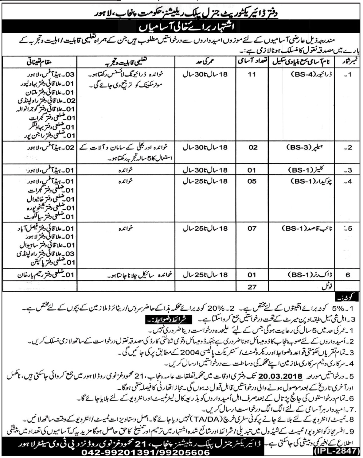 Latest Today Jobs In Office of the Directorate General Public Relations
